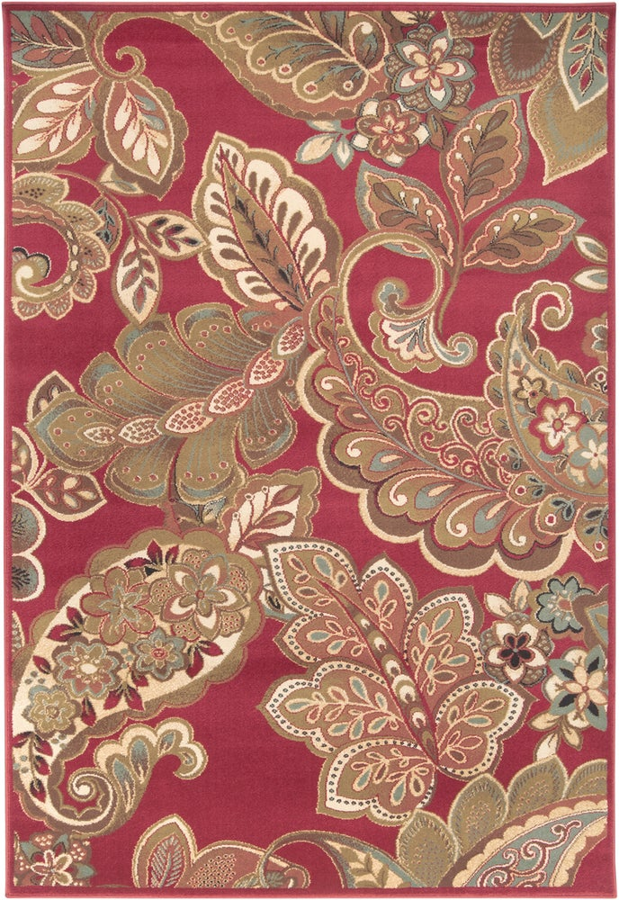 Rectangle, Round 4x55 Red Floral Machine Made Synthetics Transitional recommended for Kitchen, Bedroom, Bathroom, Dining Room, Office, Hallway, Living Room