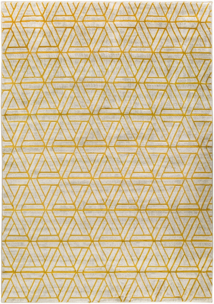 Rectangle 22x3 Yellow Geometric Machine Made Synthetics Modern recommended for Bedroom, Bathroom, Dining Room, Office, Hallway, Living Room