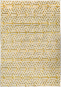 Rectangle Yellow Geometric Machine Made Synthetics Modern Recommended For Bedroom Bathroom Dining Room
