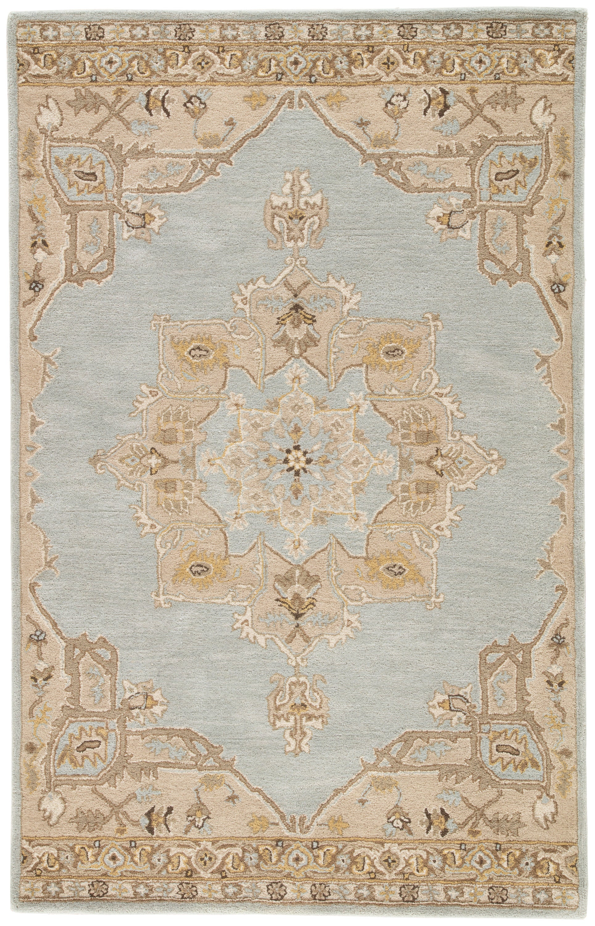 Rectangle Lightbrown Medallion Hand Tufted Wool Traditional & Oriental recommended for Bedroom, Bathroom, Dining Room, Office, Hallway, Living Room