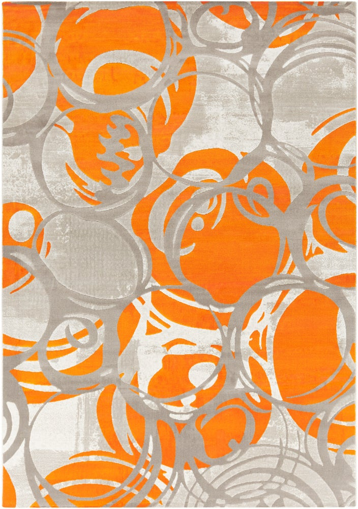 Rectangle 52x76 Orange Abstract Machine Made Synthetics Modern recommended for Bedroom, Bathroom, Dining Room, Office, Hallway, Living Room
