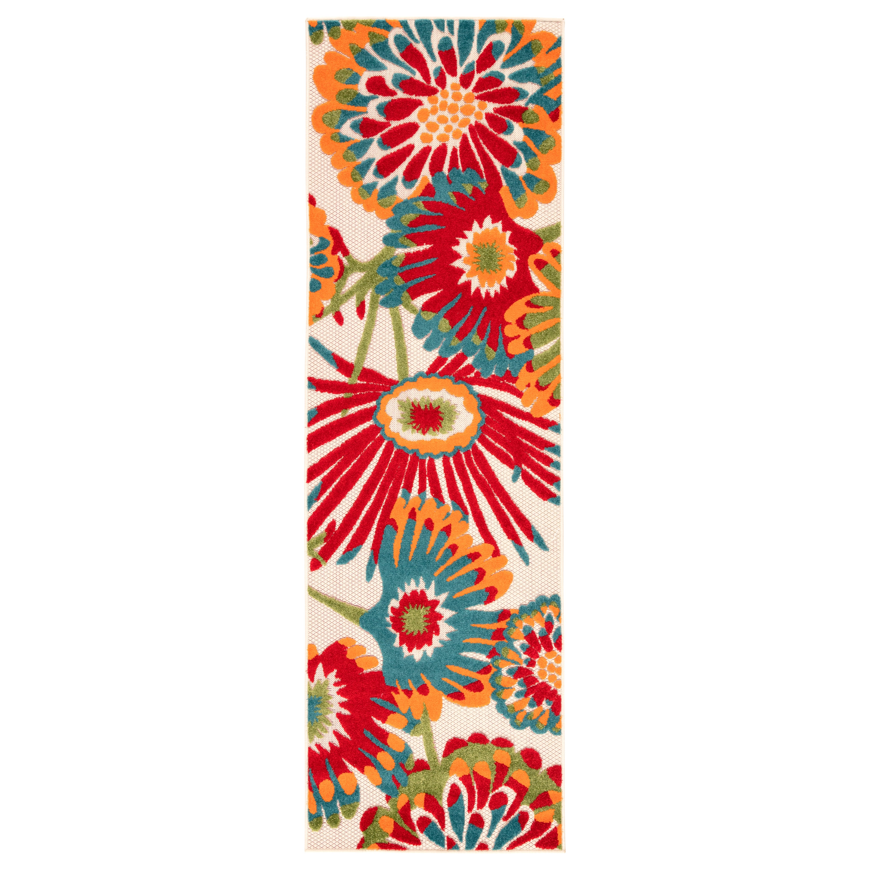 Rectangle Red Floral Machine Made Synthetics Contemporary recommended for Kitchen, Bedroom, Bathroom, Outdoor, Dining Room, Office, Hallway, Living Room