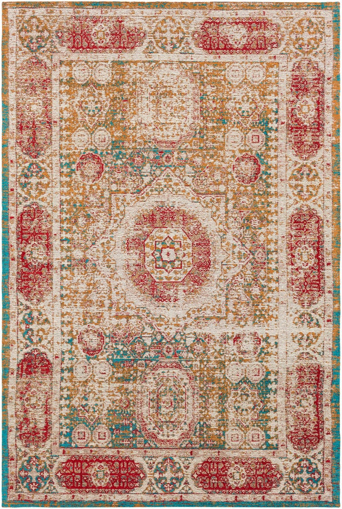 Rectangle 5x76 Red Medallion Hand Woven Blends Updated Traditional recommended for Bedroom, Bathroom, Dining Room, Office, Hallway, Living Room