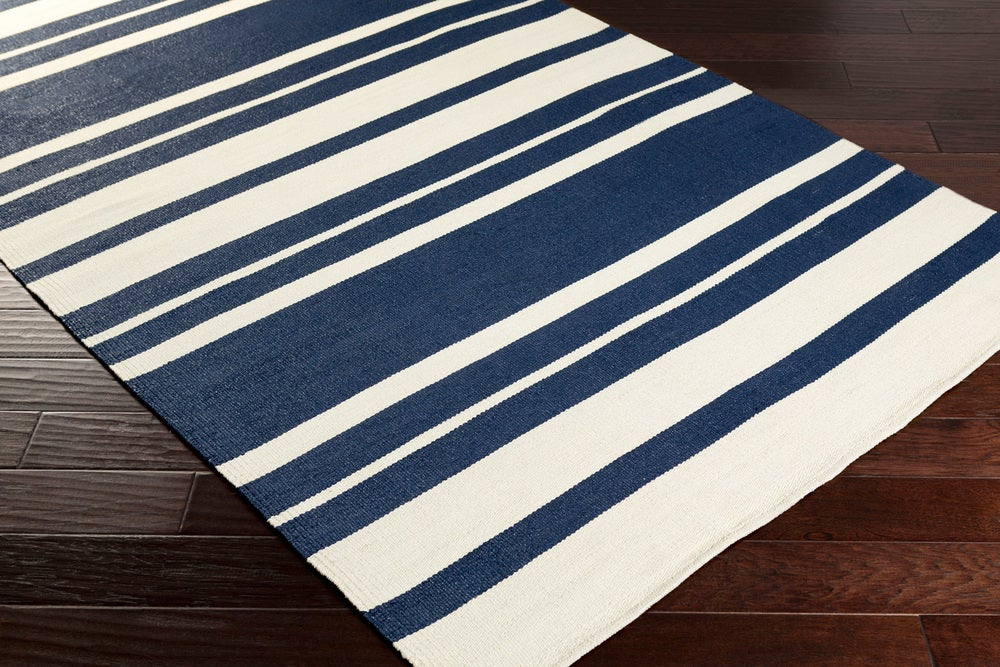 Rectangle 8x11 Darkblue Striped Hand Woven Synthetics Casual recommended for Kitchen, Bedroom, Bathroom, Dining Room, Patio, Office, Hallway, Living Room