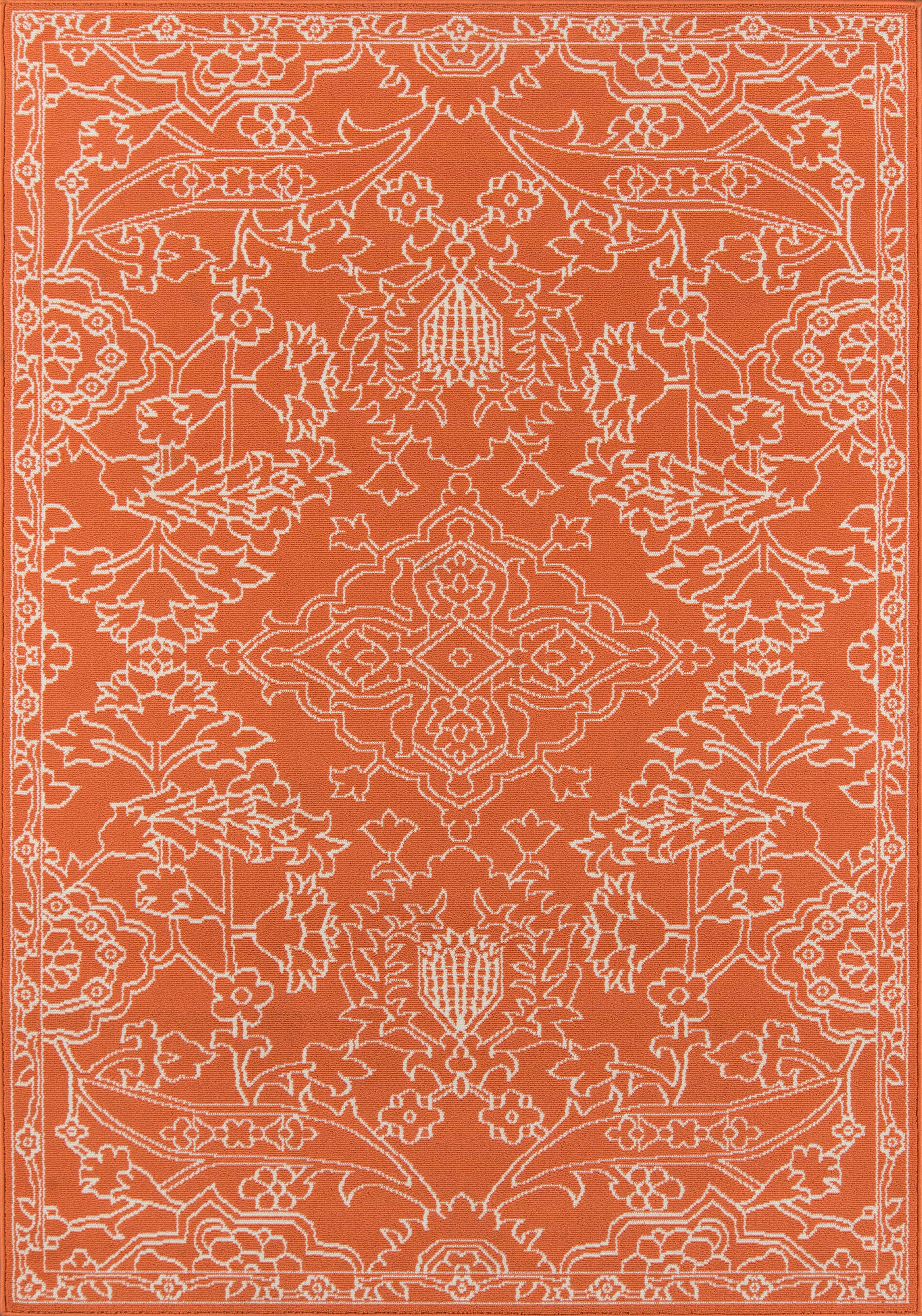 Rectangle 53x76 Orange Floral Machine Made Synthetics Traditional & Oriental recommended for Kitchen, Bedroom, Bathroom, Outdoor, Dining Room, Office, Hallway, Living Room