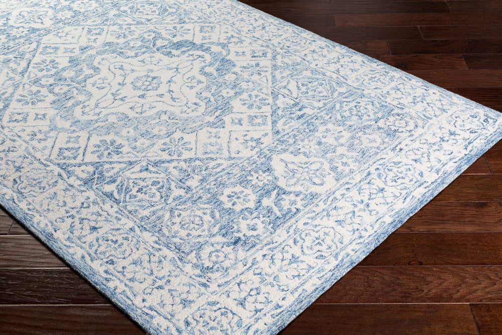 Rectangle Lightblue Medallion Hand Hooked Wool Updated Traditional recommended for Kitchen, Bedroom, Bathroom, Dining Room, Office, Hallway, Living Room