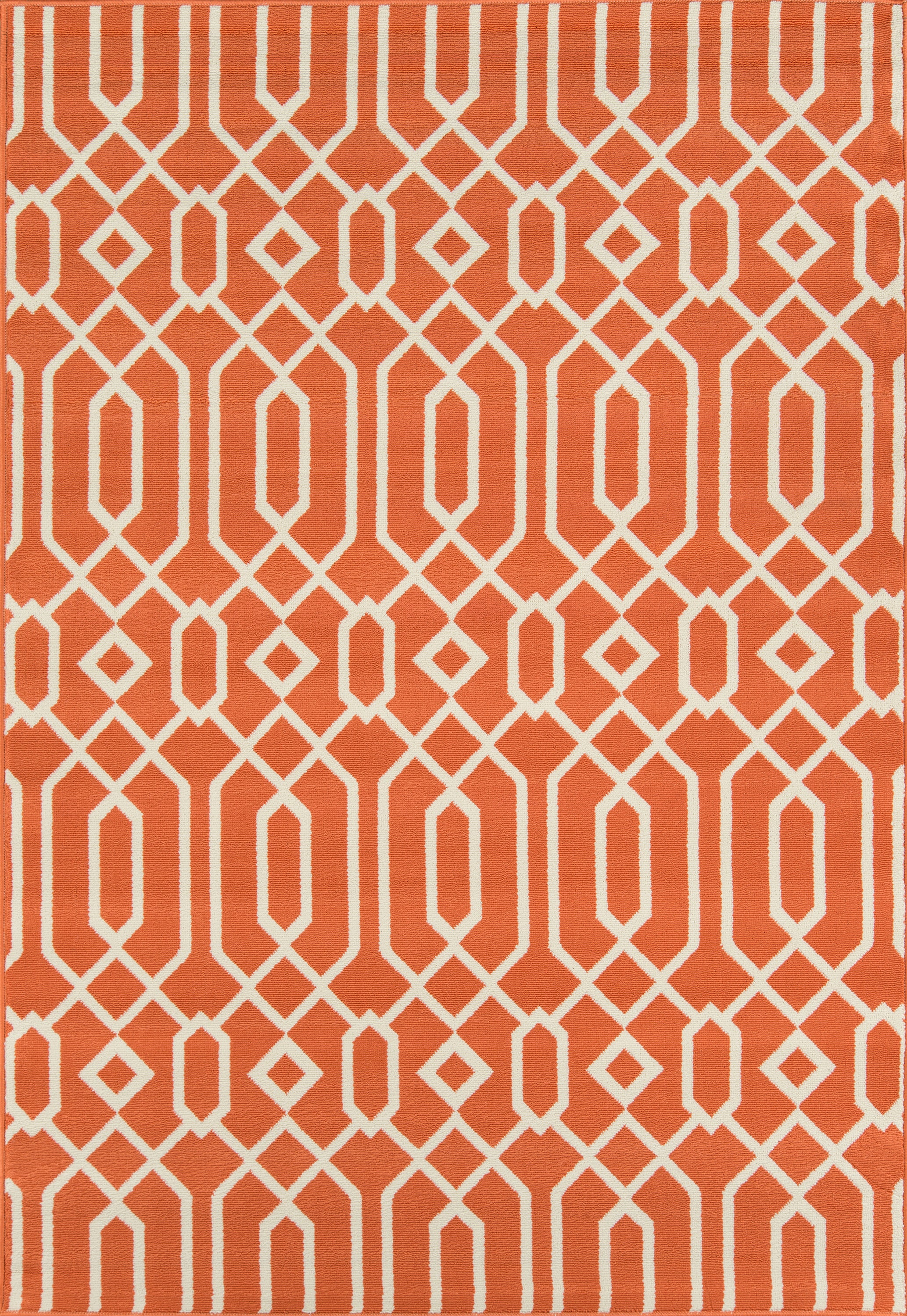 Rectangle 53x76 Orange Geometric Machine Made Synthetics Contemporary recommended for Kitchen, Bedroom, Bathroom, Outdoor, Dining Room, Office, Hallway, Living Room