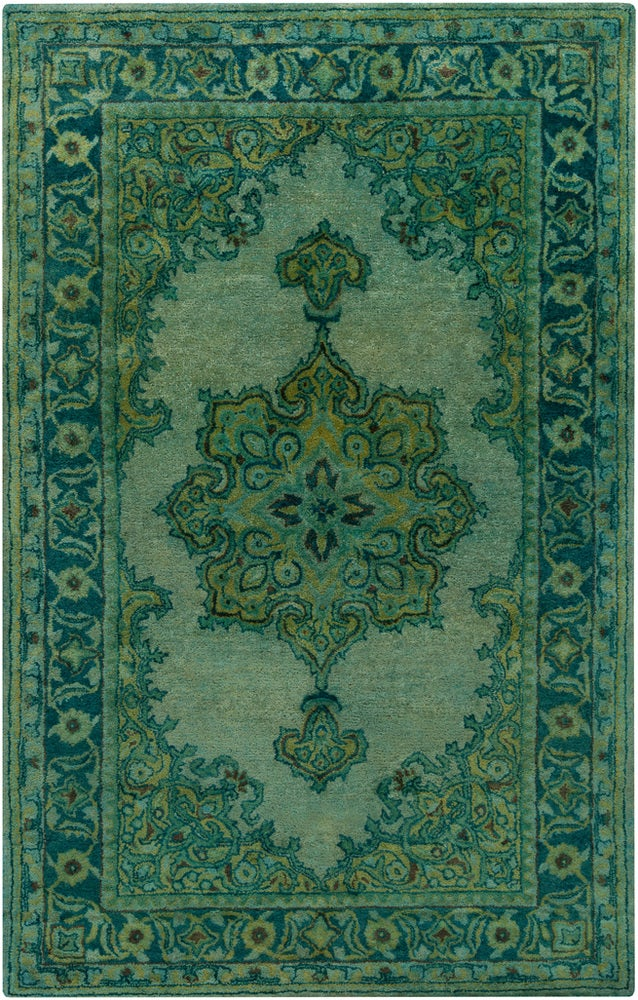 Rectangle 5x8 Green Medallion Hand Tufted Wool Updated Traditional recommended for Bedroom, Bathroom, Dining Room, Office, Hallway, Living Room