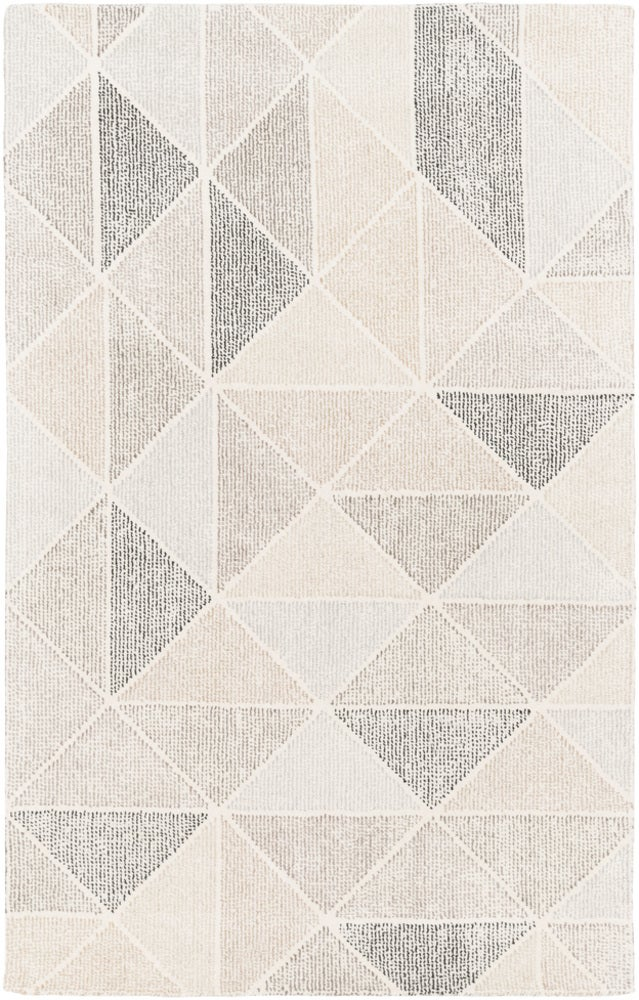 Rectangle 6x9 Lightgray Geometric Hand Tufted Wool Modern recommended for Kitchen, Bedroom, Bathroom, Dining Room, Office, Hallway, Living Room