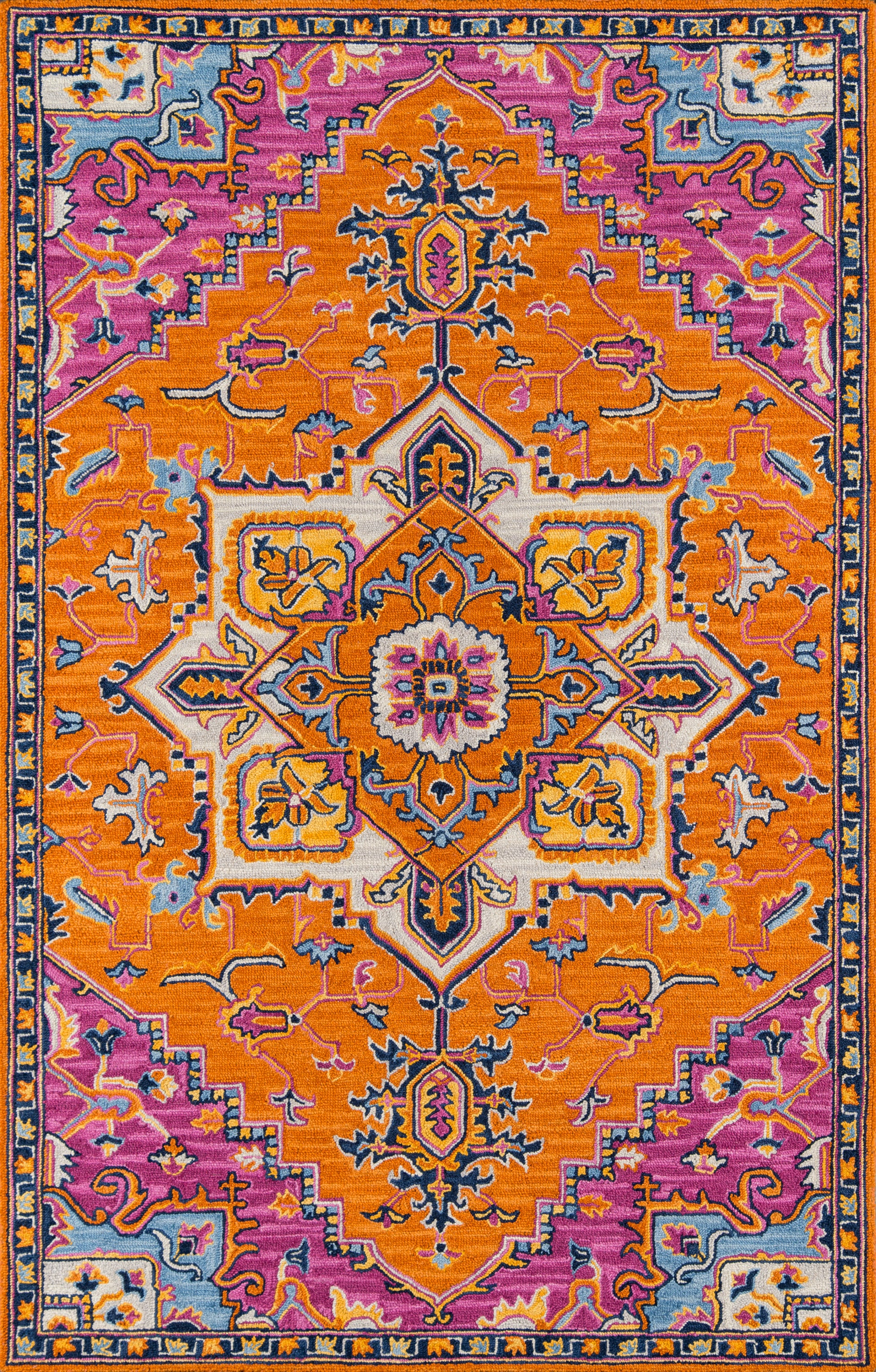 Rectangle 5x8 Orange Medallion Hand Tufted Wool Traditional & Oriental recommended for Kitchen, Bedroom, Bathroom, Dining Room, Office, Hallway, Living Room