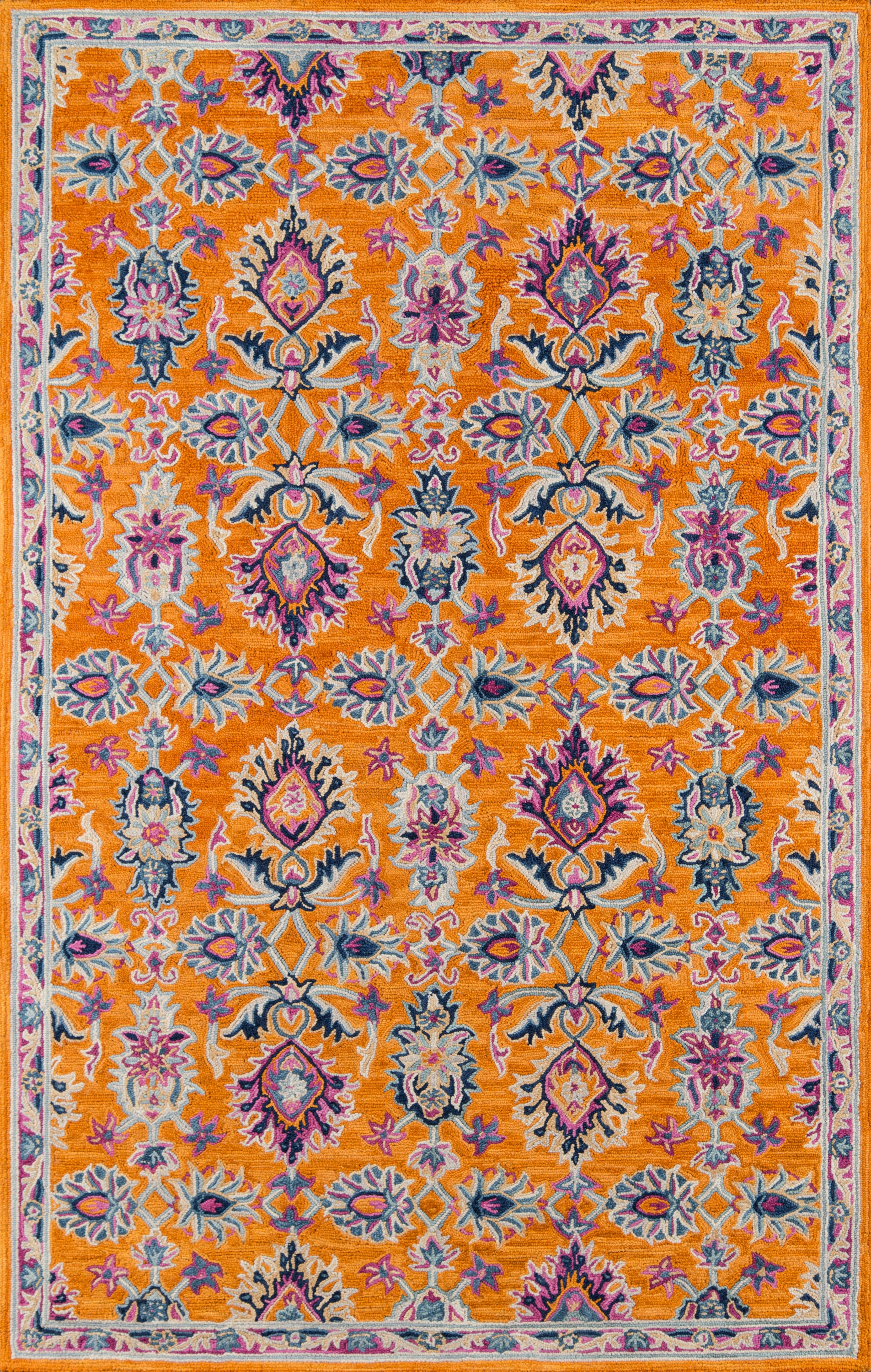 Rectangle 5x8 Orange Oriental Hand Tufted Wool Traditional & Oriental recommended for Kitchen, Bedroom, Bathroom, Dining Room, Office, Hallway, Living Room