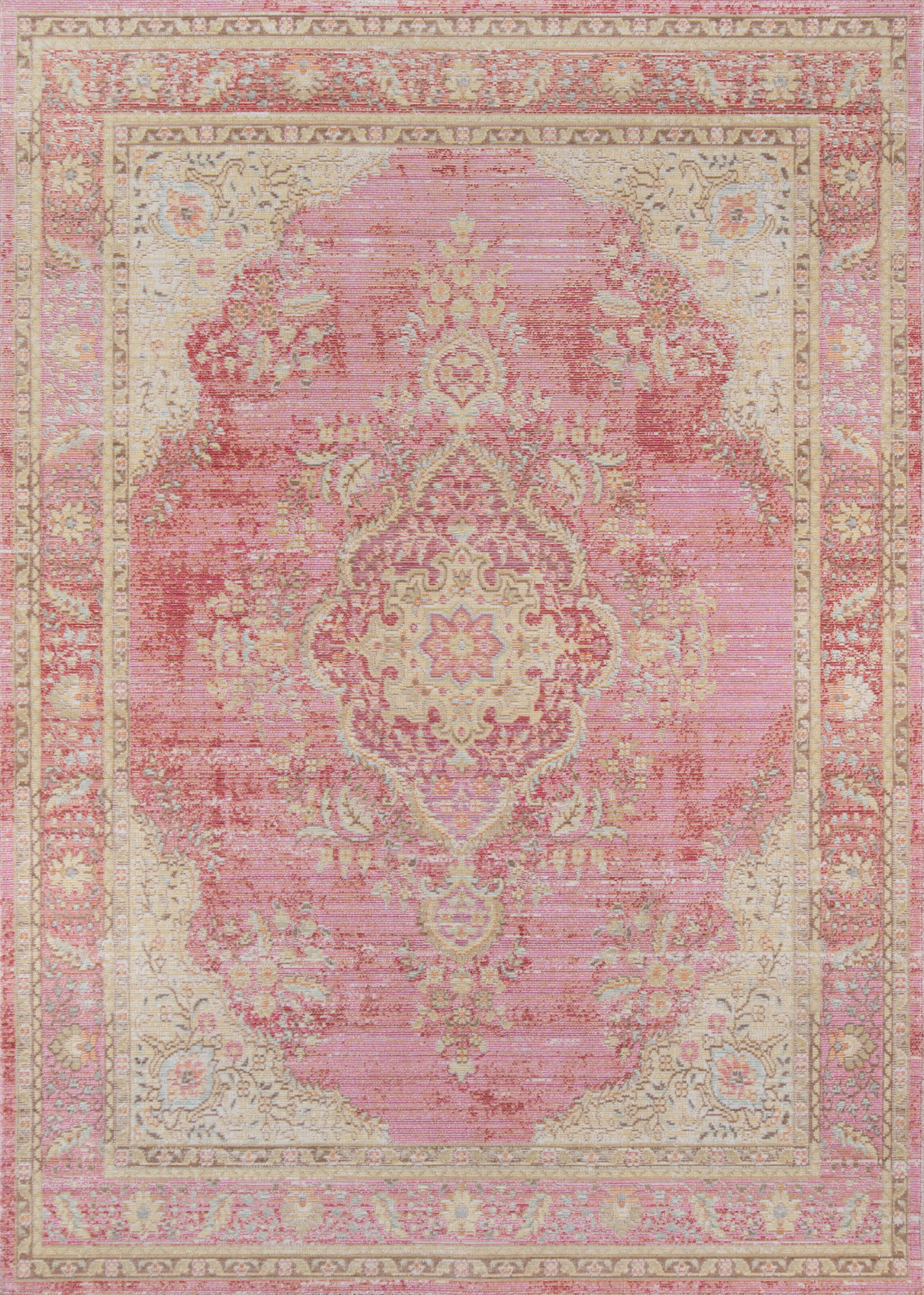 Rectangle Pink Medallion Machine Made Synthetics Traditional & Oriental recommended for Kitchen, Bedroom, Bathroom, Kids, Dining Room, Office, Hallway, Living Room