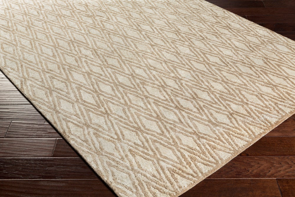Rectangle 12x15 Tan Geometric Hand Tufted Synthetics Modern recommended for Kitchen, Bedroom, Bathroom, Dining Room, Office, Hallway, Living Room