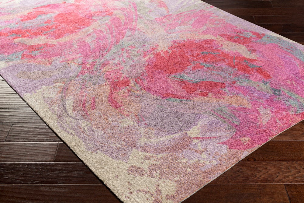 Rectangle Pink Floral Machine Made Synthetics Modern recommended for Kitchen, Bedroom, Bathroom, Kids, Dining Room, Office, Hallway, Living Room