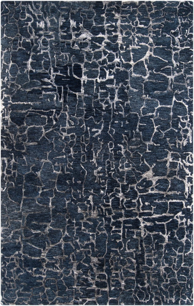 Rectangle 33x53 Darkblue Abstract Hand Tufted Blends Modern recommended for Kitchen, Bedroom, Bathroom, Dining Room, Office, Hallway, Living Room