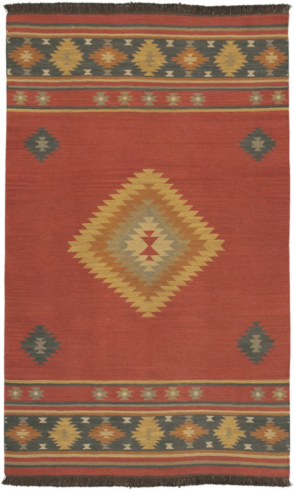 Rectangle 5x8 Red Southwestern Hand Woven Wool Transitional recommended for Kitchen, Bedroom, Bathroom, Dining Room, Office, Hallway, Living Room