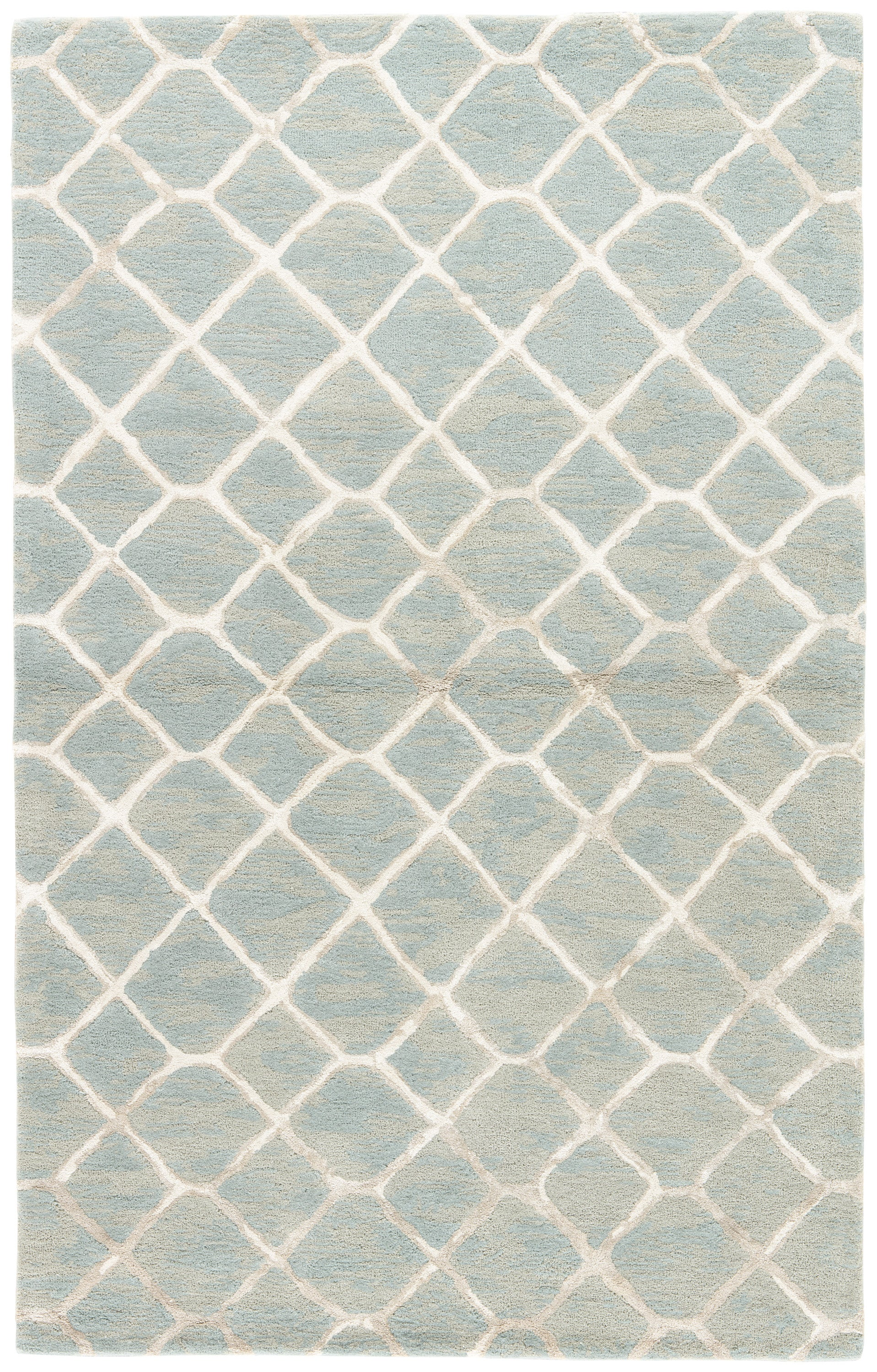 Rectangle 2x3 Blue Trellis Hand Tufted Blends Contemporary recommended for Bedroom, Bathroom, Dining Room, Office, Hallway, Living Room