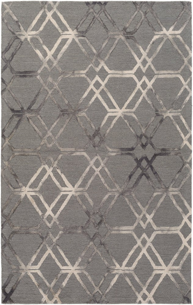 Rectangle 6x9 Gray Geometric Hand Hooked Wool Modern recommended for Kitchen, Bedroom, Bathroom, Dining Room, Office, Hallway, Living Room