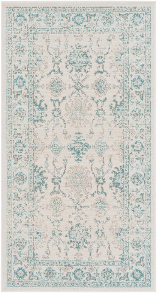 Rectangle 28x5 Lightblue Medallion Machine Made Synthetics Traditional & Oriental recommended for Bedroom, Bathroom, Dining Room, Office, Hallway, Living Room