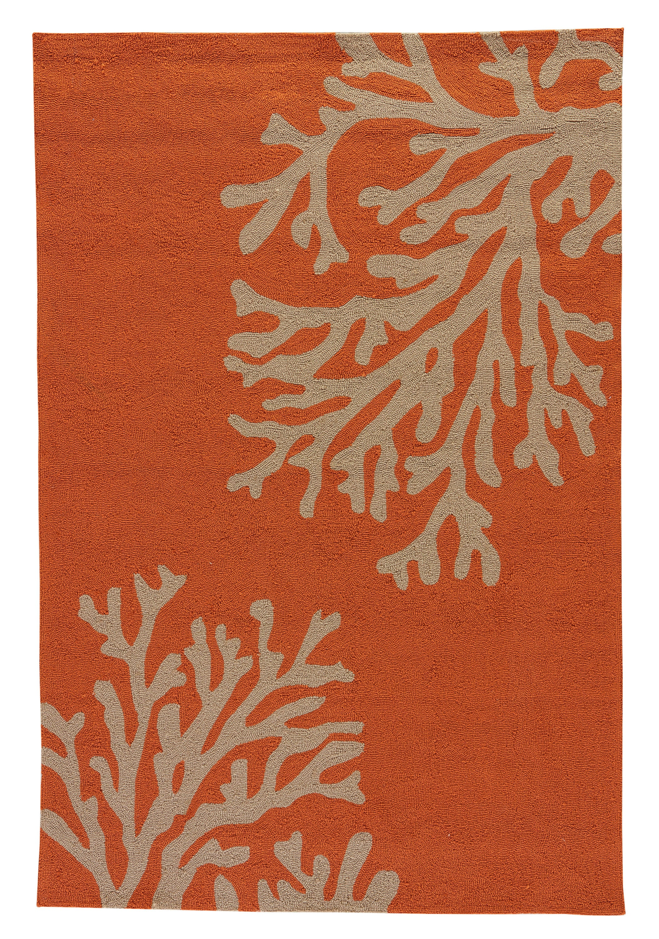 Rectangle 5x76 Orange Floral Hand Tufted Synthetics Casual recommended for Kitchen, Bedroom, Bathroom, Outdoor, Dining Room, Office, Hallway, Living Room