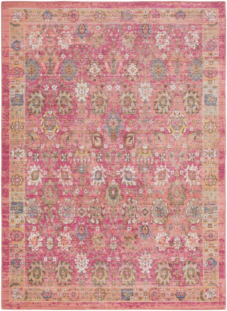 Rectangle Pink Medallion Machine Made Synthetics Updated Traditional recommended for Kitchen, Bedroom, Bathroom, Kids, Dining Room, Office, Hallway, Living Room