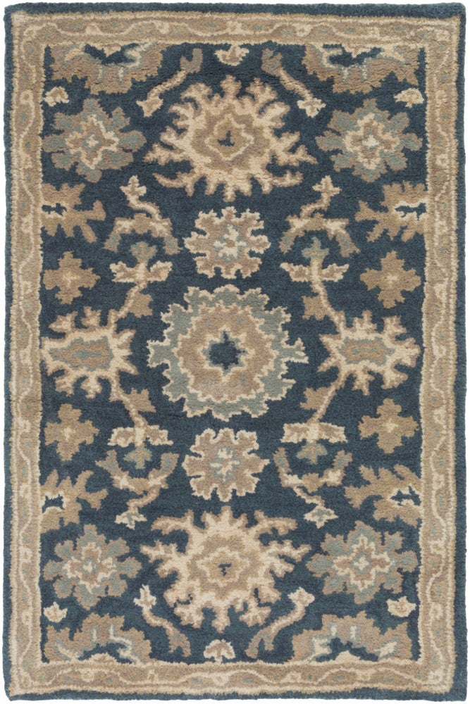 Square, Rectangle, Oval, Hearth, Round 2x3 Blue Traditional/oriental Hand Tufted Wool Traditional & Oriental recommended for Kitchen, Bedroom, Bathroom, Dining Room, Office, Hallway, Living Room