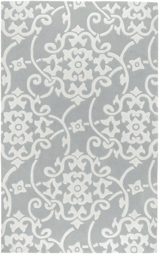 Rectangle, Round 6x9 Gray Geometric Hand Tufted Synthetics Transitional recommended for Kitchen, Bedroom, Bathroom, Dining Room, Office, Hallway, Living Room