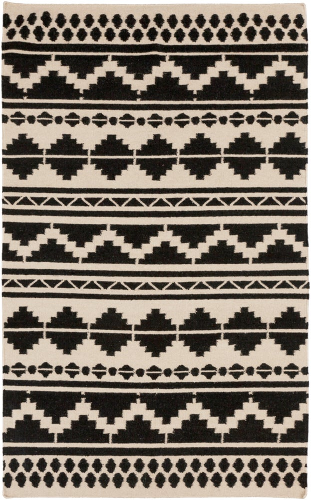 Rectangle 36x56 Black Southwestern Hand Woven Wool Boho/bohemian recommended for Kitchen, Bedroom, Bathroom, Dining Room, Office, Hallway, Living Room