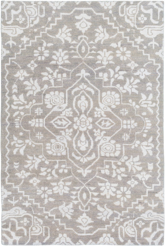 Rectangle 6x9 Lightgray Floral Hand Knotted Blends Traditional & Oriental recommended for Kitchen, Bedroom, Bathroom, Dining Room, Office, Hallway, Living Room