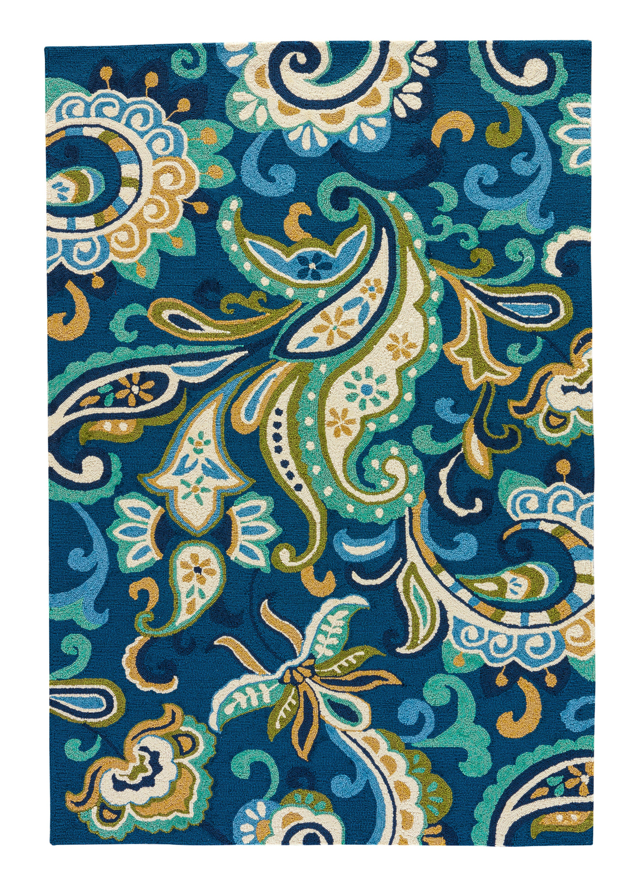 Rectangle Blue Floral Hand Hooked Synthetics Contemporary recommended for Kitchen, Bedroom, Bathroom, Outdoor, Dining Room, Office, Hallway, Living Room