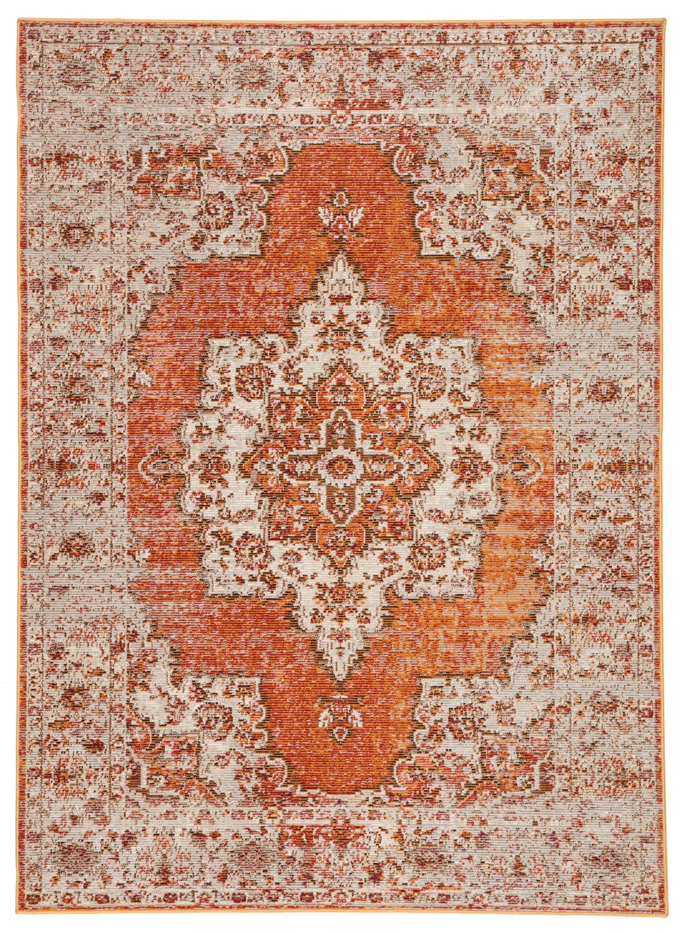 Rectangle 53x76 Orange Medallion Machine Made Synthetics Boho/bohemian recommended for Kitchen, Bedroom, Bathroom, Dining Room, Office, Hallway, Living Room