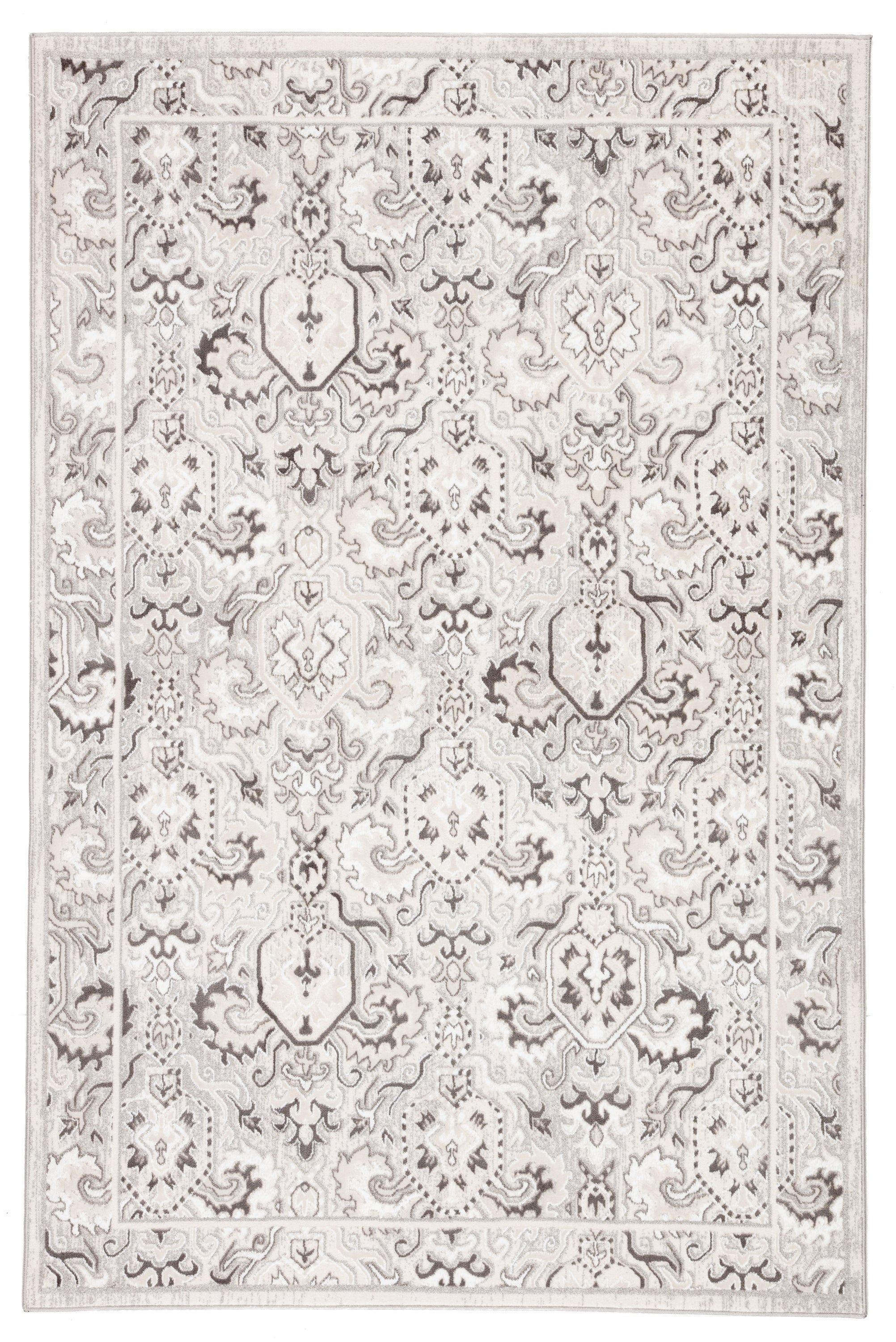 Rectangle 33x53 White Damask Machine Made Synthetics Transitional recommended for Kitchen, Bedroom, Bathroom, Dining Room, Office, Hallway, Living Room