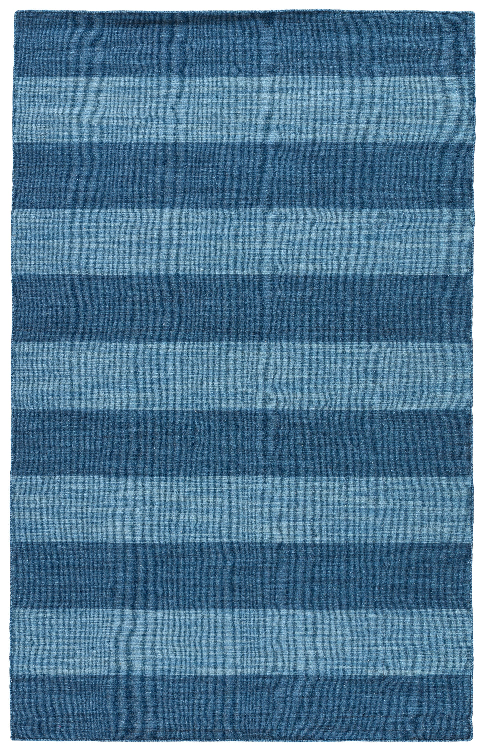 Rectangle Blue Stripe Dhurrie Wool Transitional recommended for Kitchen, Bedroom, Bathroom, Dining Room, Office, Hallway, Living Room