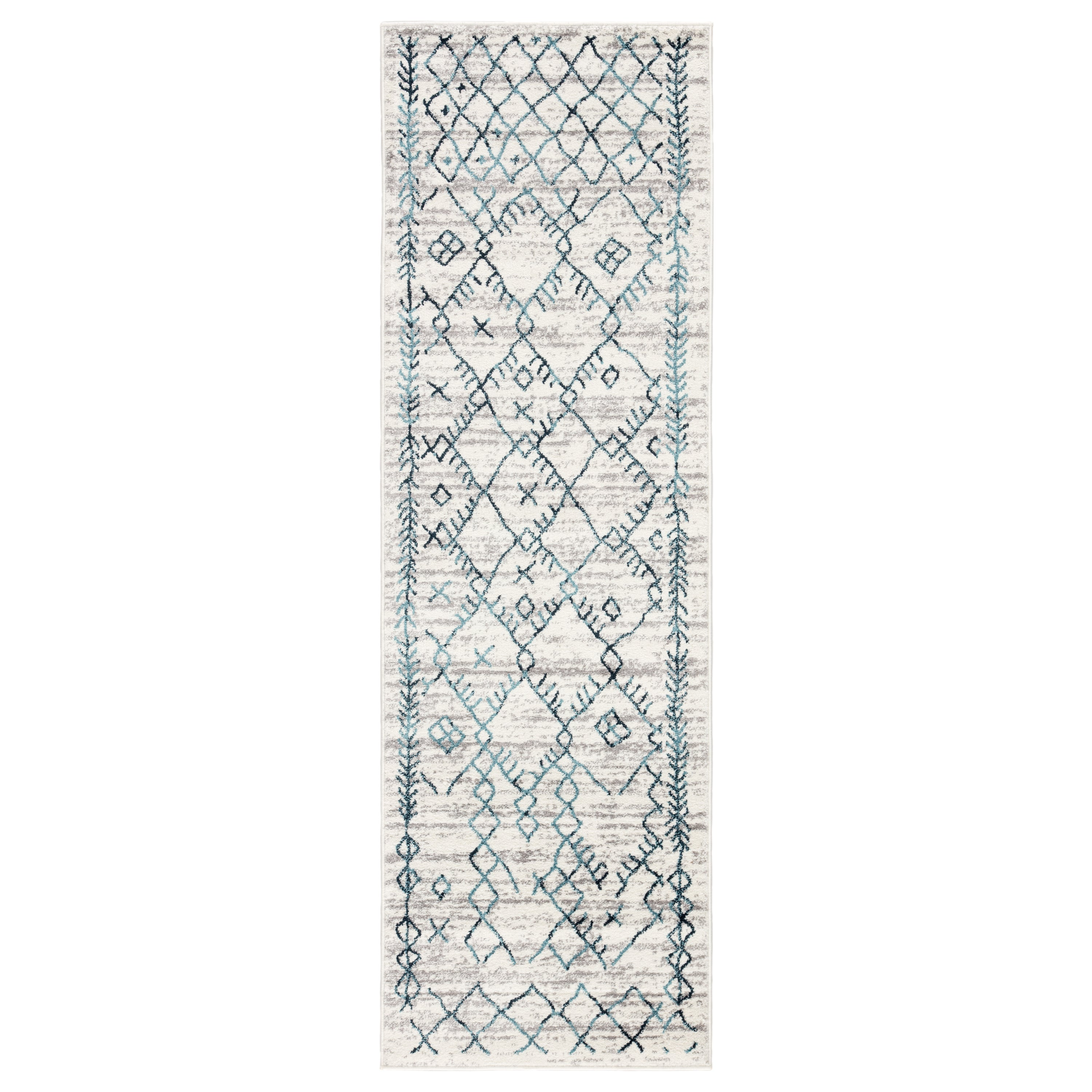 Rectangle Blue Trellis Machine Made Synthetics Persian & Moroccan recommended for Kitchen, Bedroom, Bathroom, Dining Room, Office, Hallway, Living Room